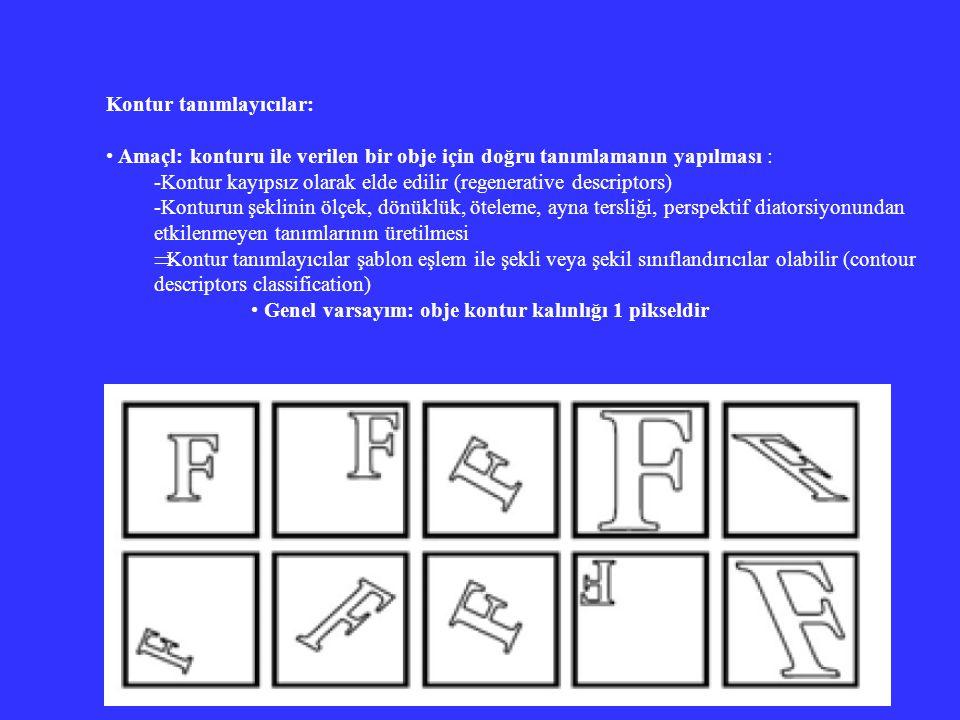 Kontur tanımlayıcılar: Amaçl: konturu ile verilen bir obje için doğru tanımlamanın yapılması : -Kontur kayıpsız olarak elde edilir (regenerative descr