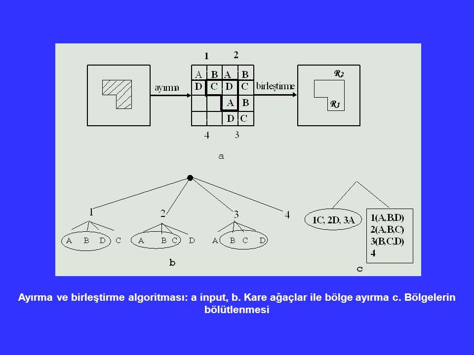 Ayırma ve birleştirme algoritması: a input, b. Kare ağaçlar ile bölge ayırma c. Bölgelerin bölütlenmesi