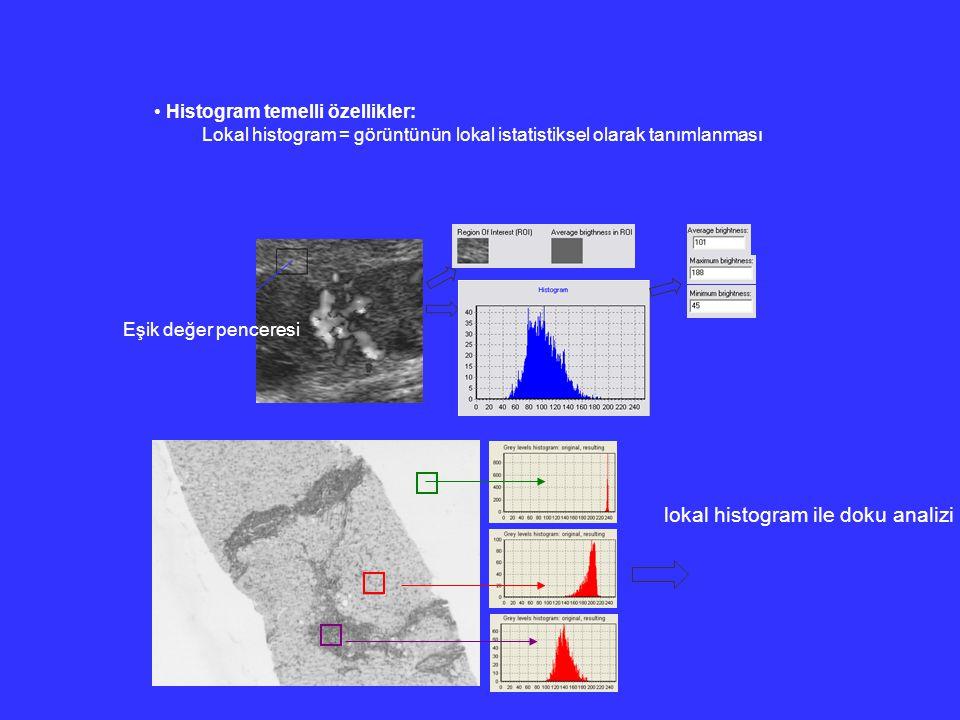 Histogram temelli özellikler: Lokal histogram = görüntünün lokal istatistiksel olarak tanımlanması Eşik değer penceresi lokal histogram ile doku anali