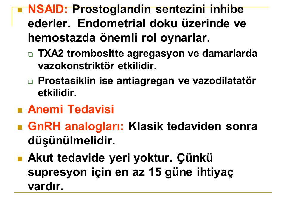 NSAID: Prostoglandin sentezini inhibe ederler.