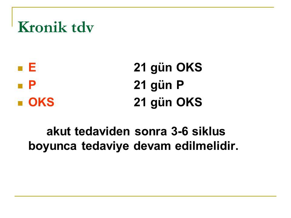 Kronik tdv E21 gün OKS P21 gün P OKS21 gün OKS akut tedaviden sonra 3-6 siklus boyunca tedaviye devam edilmelidir.