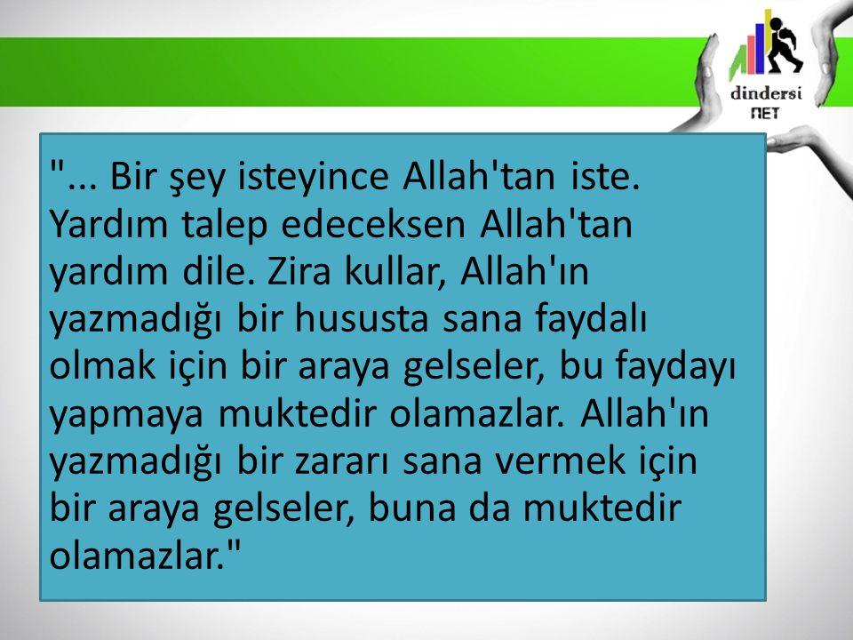 ...Bir şey isteyince Allah tan iste. Yardım talep edeceksen Allah tan yardım dile.