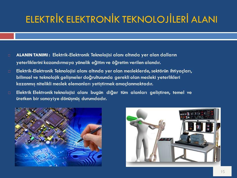 ELEKTR İ K ELEKTRON İ K TEKNOLOJ İ LER İ ALANI  ALANIN TANIMI : Elektrik-Elektronik Teknolojisi alanı altında yer alan dalların yeterliklerini kazand