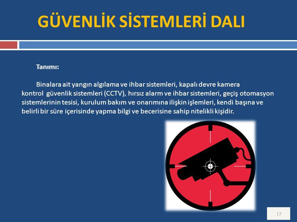 GÜVENLİK SİSTEMLERİ DALI 17 Tanımı: Binalara ait yangın algılama ve ihbar sistemleri, kapalı devre kamera kontrol güvenlik sistemleri (CCTV), hırsız a
