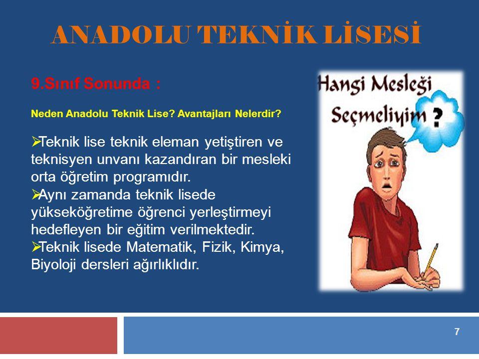 7 ANADOLU TEKNİK LİSESİ 9.Sınıf Sonunda : Neden Anadolu Teknik Lise.