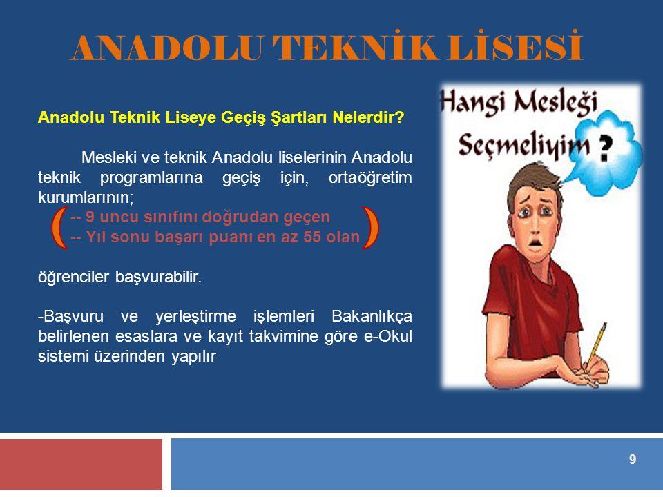 9 ANADOLU TEKNİK LİSESİ Anadolu Teknik Liseye Geçiş Şartları Nelerdir.