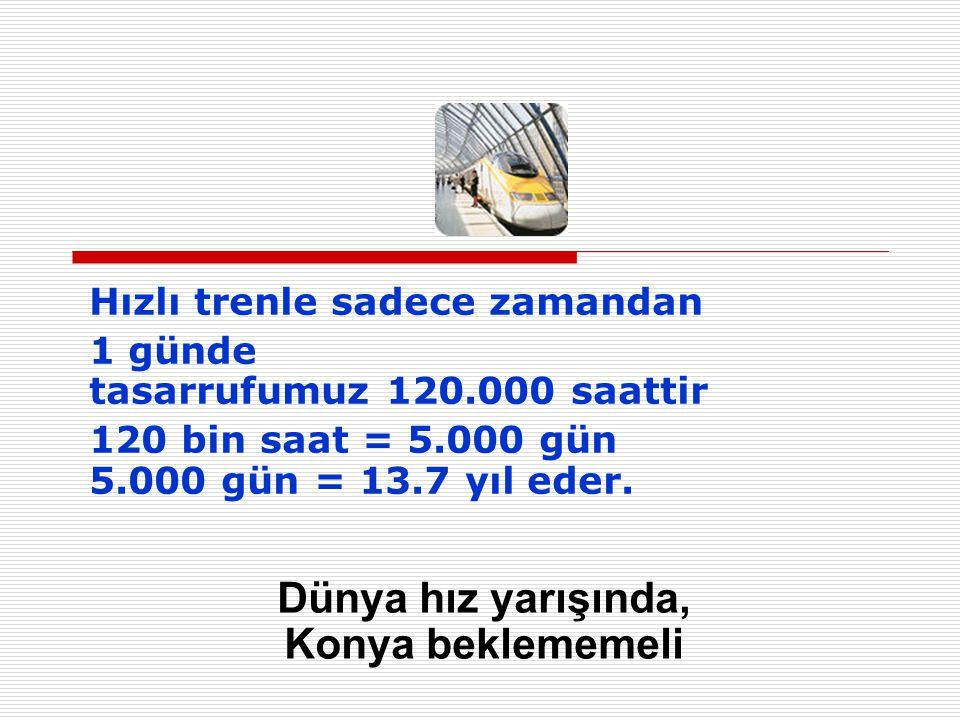 Hızlı trenle sadece zamandan 1 günde tasarrufumuz 120.000 saattir 120 bin saat = 5.000 gün 5.000 gün = 13.7 yıl eder.