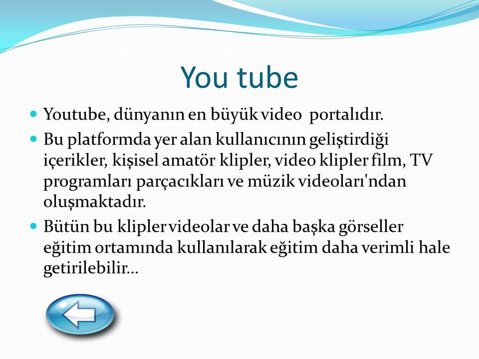 You tube Youtube, dünyanın en büyük video portalıdır.