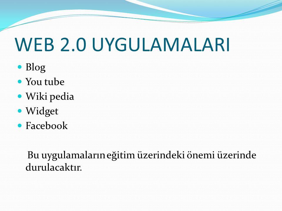 WEB 2.0 UYGULAMALARI Blog You tube Wiki pedia Widget Facebook Bu uygulamaların eğitim üzerindeki önemi üzerinde durulacaktır.