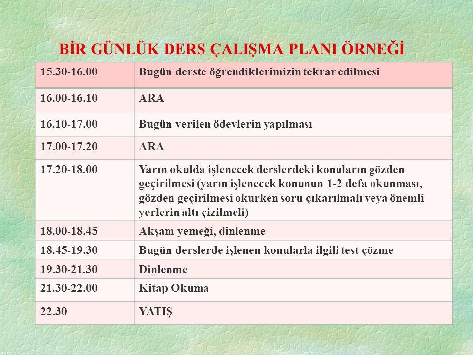 BİR GÜNLÜK DERS ÇALIŞMA PLANI ÖRNEĞİ 15.30-16.00Bugün derste öğrendiklerimizin tekrar edilmesi 16.00-16.10ARA 16.10-17.00Bugün verilen ödevlerin yapıl