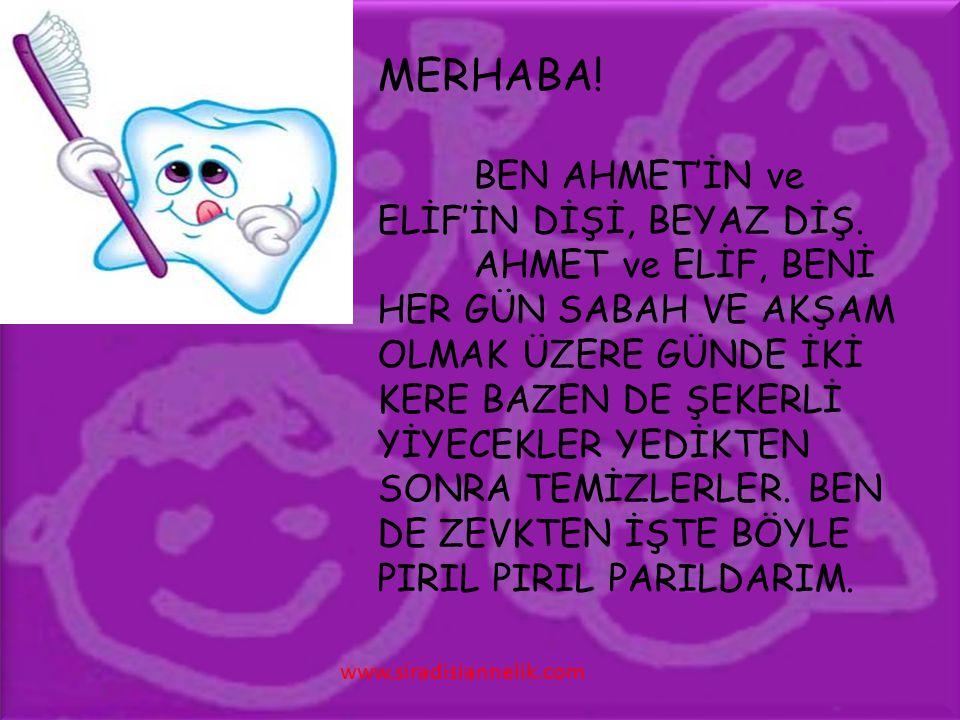 MERHABA. BEN AHMET'İN ve ELİF'İN DİŞİ, BEYAZ DİŞ.