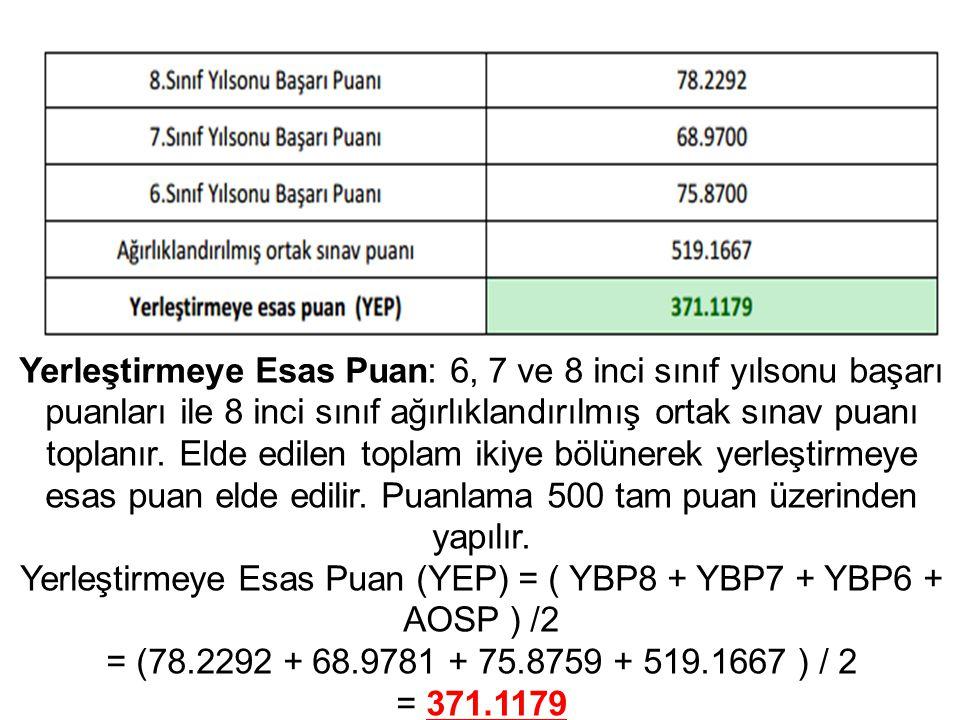 Yerleştirmeye Esas Puan: 6, 7 ve 8 inci sınıf yılsonu başarı puanları ile 8 inci sınıf ağırlıklandırılmış ortak sınav puanı toplanır. Elde edilen topl