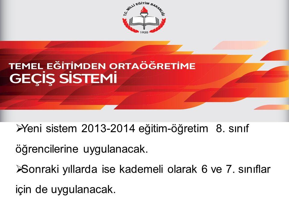  Yeni sistem 2013-2014 eğitim-öğretim 8. sınıf öğrencilerine uygulanacak.  Sonraki yıllarda ise kademeli olarak 6 ve 7. sınıflar için de uygulanacak