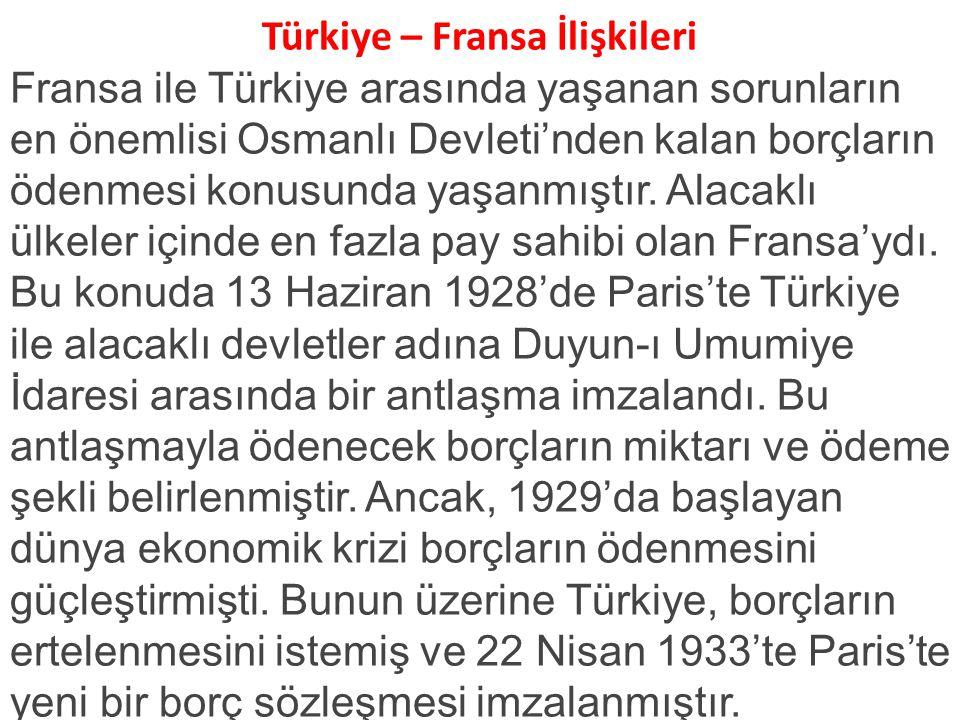 Türkiye – Fransa İlişkileri Fransa ile Türkiye arasında yaşanan sorunların en önemlisi Osmanlı Devleti'nden kalan borçların ödenmesi konusunda yaşanmıştır.