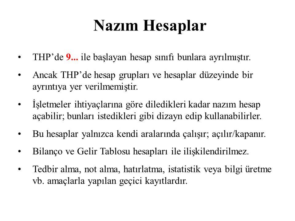 Nazım Hesaplar THP'de 9...ile başlayan hesap sınıfı bunlara ayrılmıştır.