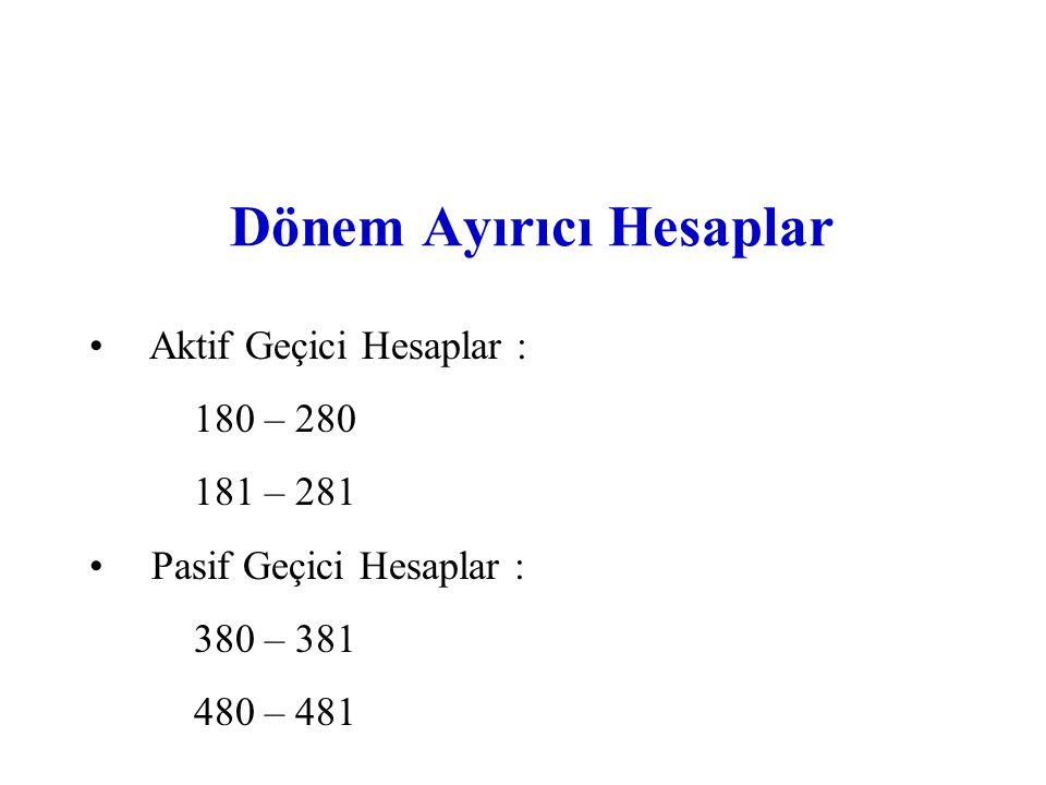 Düzenleyici Hesaplar Aktifi Düzenleyici Hesaplar : (pasif karakterli) - 1.Dönen Varlıklar içinde (-) : 103, 119, 122, 124, 129, 137, 139, 158, 199 - 2