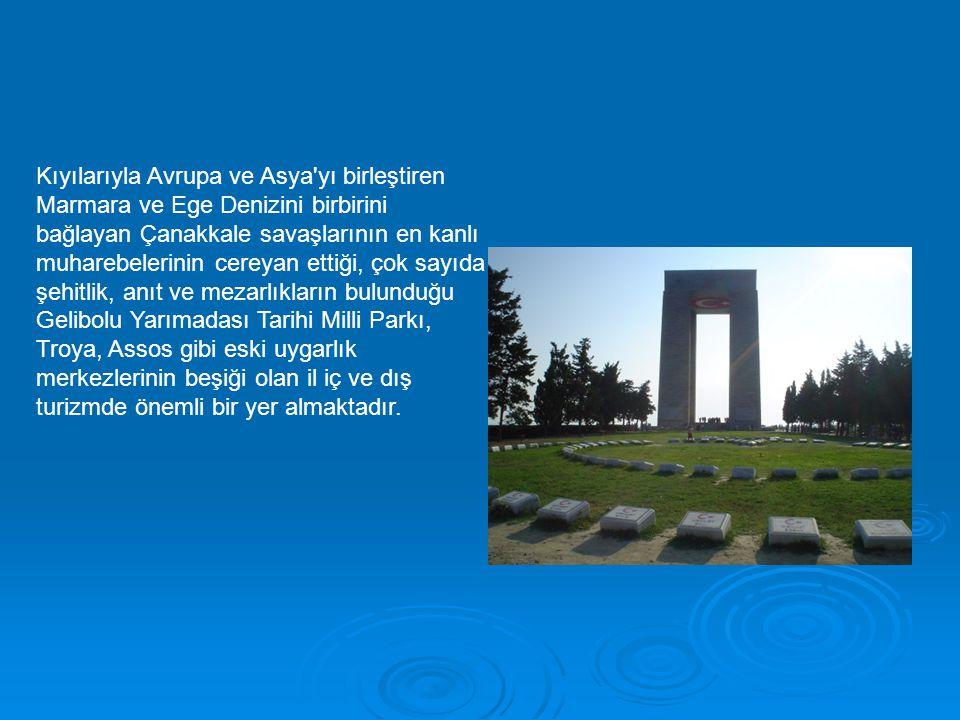 Kıyılarıyla Avrupa ve Asya'yı birleştiren Marmara ve Ege Denizini birbirini bağlayan Çanakkale savaşlarının en kanlı muharebelerinin cereyan ettiği, ç