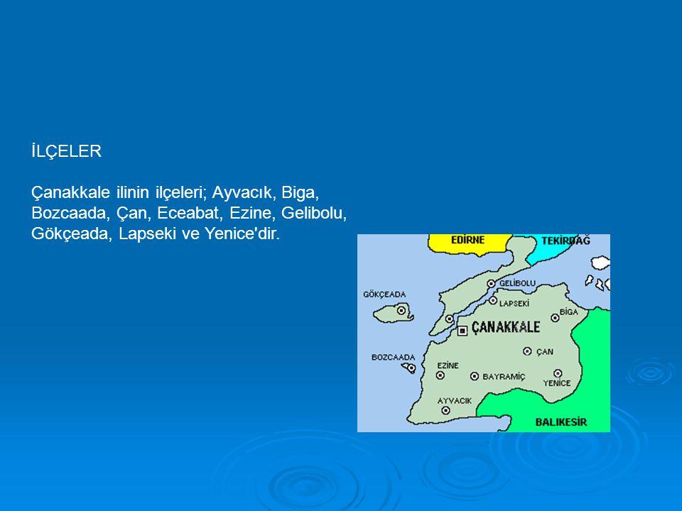 İLÇELER Çanakkale ilinin ilçeleri; Ayvacık, Biga, Bozcaada, Çan, Eceabat, Ezine, Gelibolu, Gökçeada, Lapseki ve Yenice'dir.
