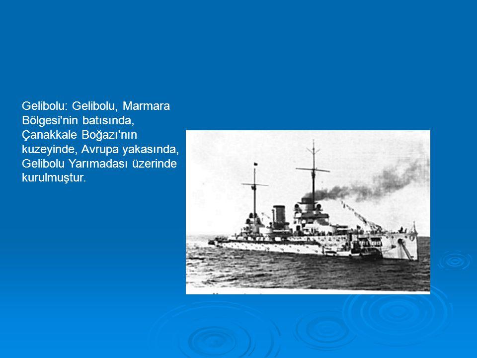 Gelibolu: Gelibolu, Marmara Bölgesi'nin batısında, Çanakkale Boğazı'nın kuzeyinde, Avrupa yakasında, Gelibolu Yarımadası üzerinde kurulmuştur.