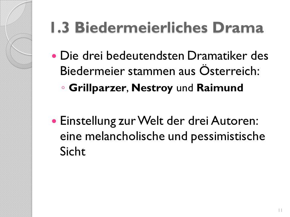 1.3 Biedermeierliches Drama Die drei bedeutendsten Dramatiker des Biedermeier stammen aus Österreich: ◦ Grillparzer, Nestroy und Raimund Einstellung z