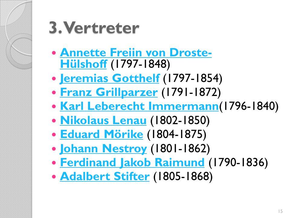 3. Vertreter Annette Freiin von Droste- Hülshoff (1797-1848) Annette Freiin von Droste- Hülshoff Jeremias Gotthelf (1797-1854) Jeremias Gotthelf Franz