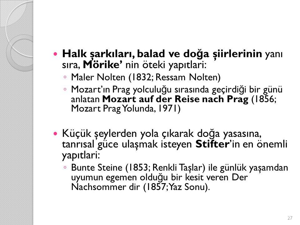 Halk şarkıları, balad ve do ğ a şiirlerinin yanı sıra, Mörike' nin öteki yapıtlari: ◦ Maler Nolten (1832; Ressam Nolten) ◦ Mozart'ın Prag yolculu ğ u