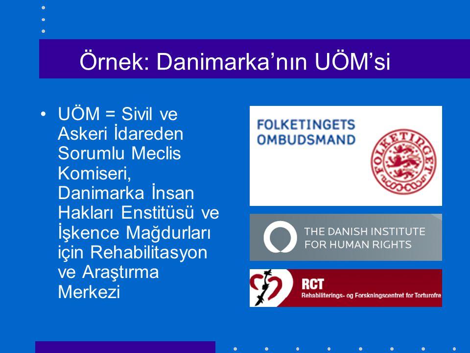 Örnek: Danimarka'nın UÖM'si UÖM = Sivil ve Askeri İdareden Sorumlu Meclis Komiseri, Danimarka İnsan Hakları Enstitüsü ve İşkence Mağdurları için Rehabilitasyon ve Araştırma Merkezi