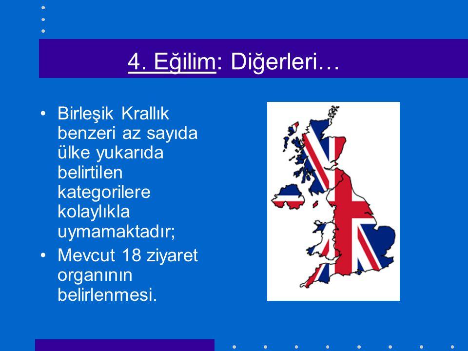4. Eğilim: Diğerleri… Birleşik Krallık benzeri az sayıda ülke yukarıda belirtilen kategorilere kolaylıkla uymamaktadır; Mevcut 18 ziyaret organının be