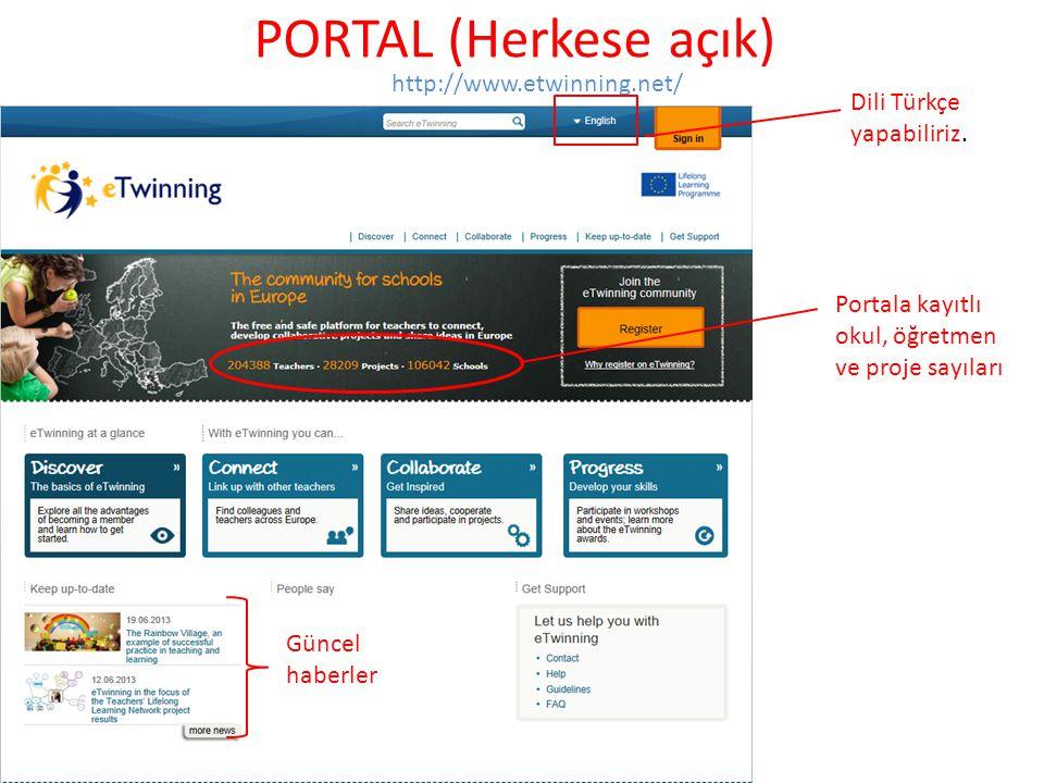 PORTAL (Herkese açık) http://www.etwinning.net/ Dili Türkçe yapabiliriz. Portala kayıtlı okul, öğretmen ve proje sayıları Güncel haberler