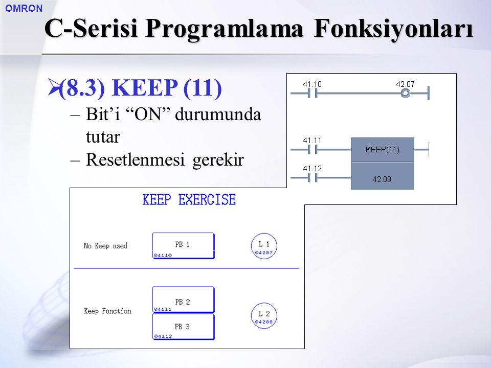 """OMRON C-Serisi Programlama Fonksiyonları  (8.3) KEEP (11) –Bit'i """"ON"""" durumunda tutar –Resetlenmesi gerekir"""