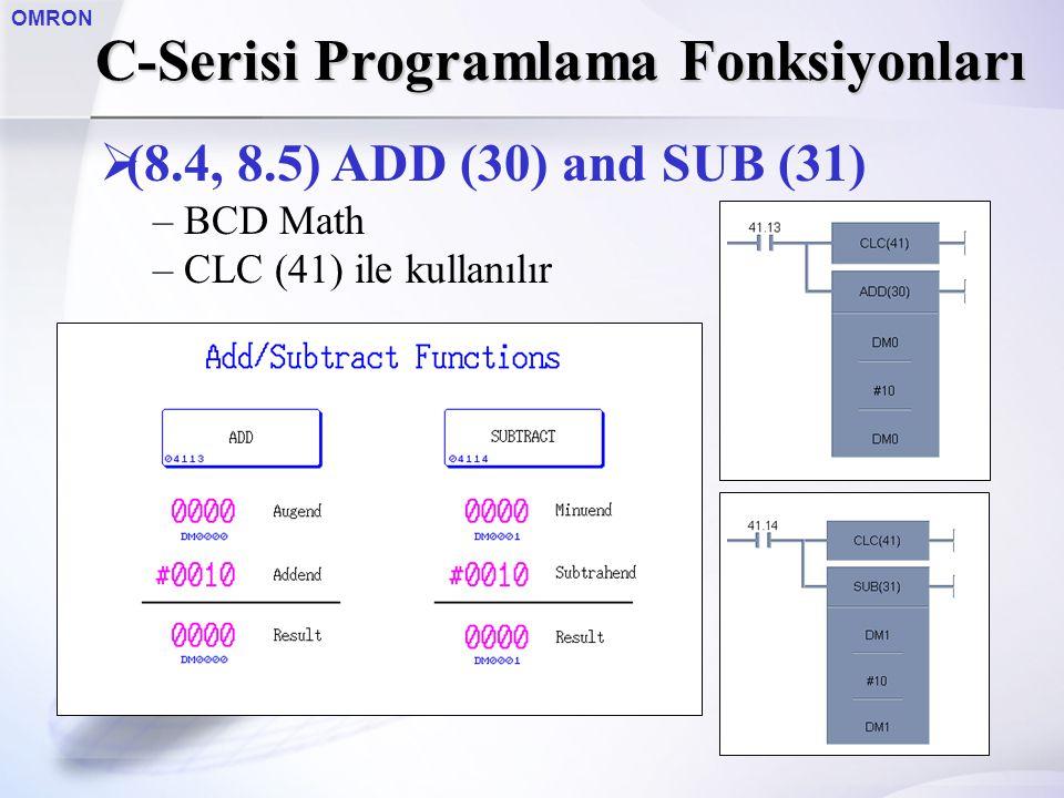 OMRON  (8.4, 8.5) ADD (30) and SUB (31) – BCD Math – CLC (41) ile kullanılır C-Serisi Programlama Fonksiyonları