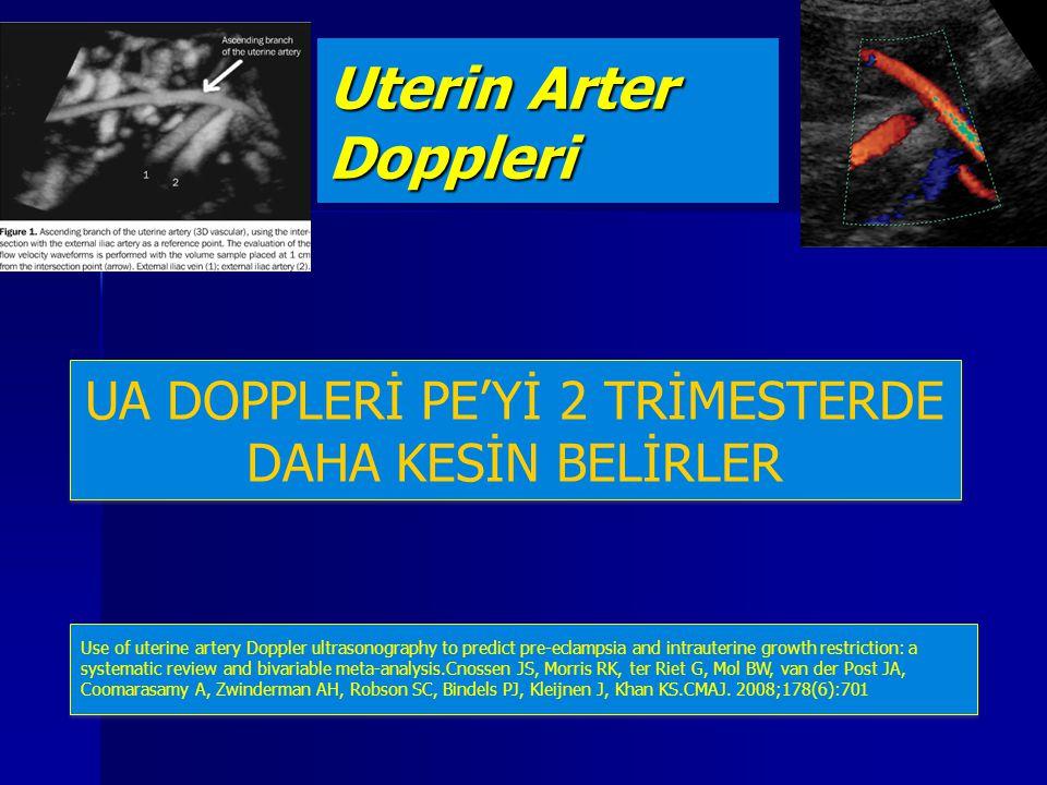 Uterin Arter Doppleri UA DOPPLERİ PE'Yİ 2 TRİMESTERDE DAHA KESİN BELİRLER Use of uterine artery Doppler ultrasonography to predict pre-eclampsia and i