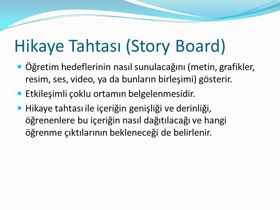 Hikaye Tahtası (Story Board) Öğretim hedeflerinin nasıl sunulacağını (metin, grafikler, resim, ses, video, ya da bunların birleşimi) gösterir.