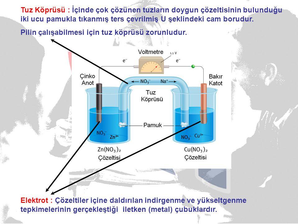 Elektrot : Çözeltiler içine daldırılan indirgenme ve yükseltgenme tepkimelerinin gerçekleştiği iletken (metal) çubuklardır.