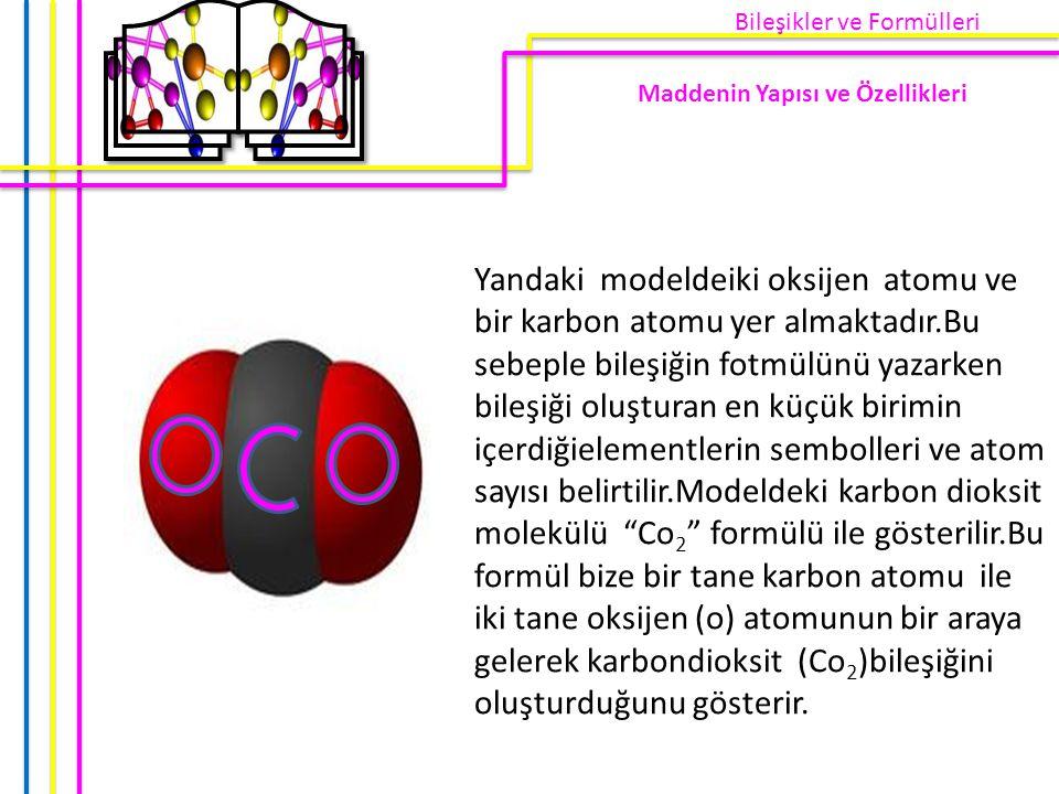 Yandaki modeldeiki oksijen atomu ve bir karbon atomu yer almaktadır.Bu sebeple bileşiğin fotmülünü yazarken bileşiği oluşturan en küçük birimin içerdi