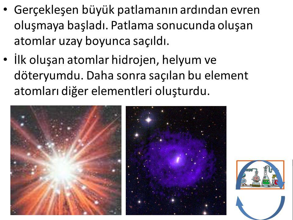 Gerçekleşen büyük patlamanın ardından evren oluşmaya başladı. Patlama sonucunda oluşan atomlar uzay boyunca saçıldı. İlk oluşan atomlar hidrojen, hely