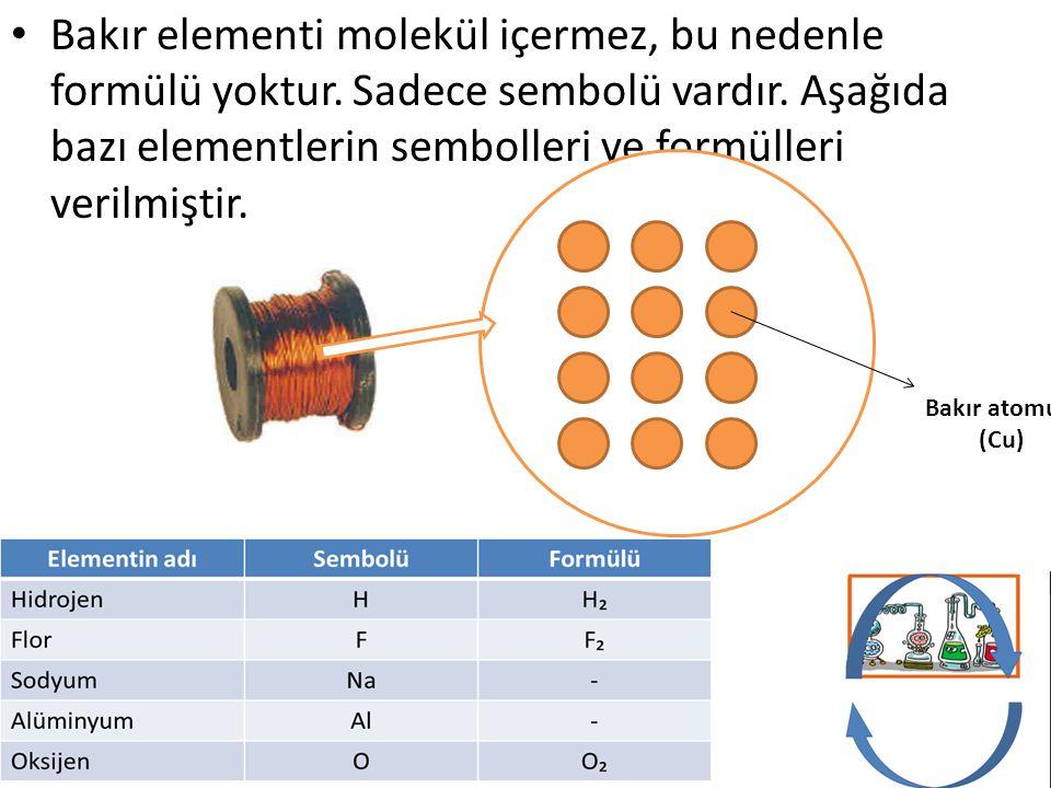 Bakır elementi molekül içermez, bu nedenle formülü yoktur. Sadece sembolü vardır. Aşağıda bazı elementlerin sembolleri ve formülleri verilmiştir. Bakı