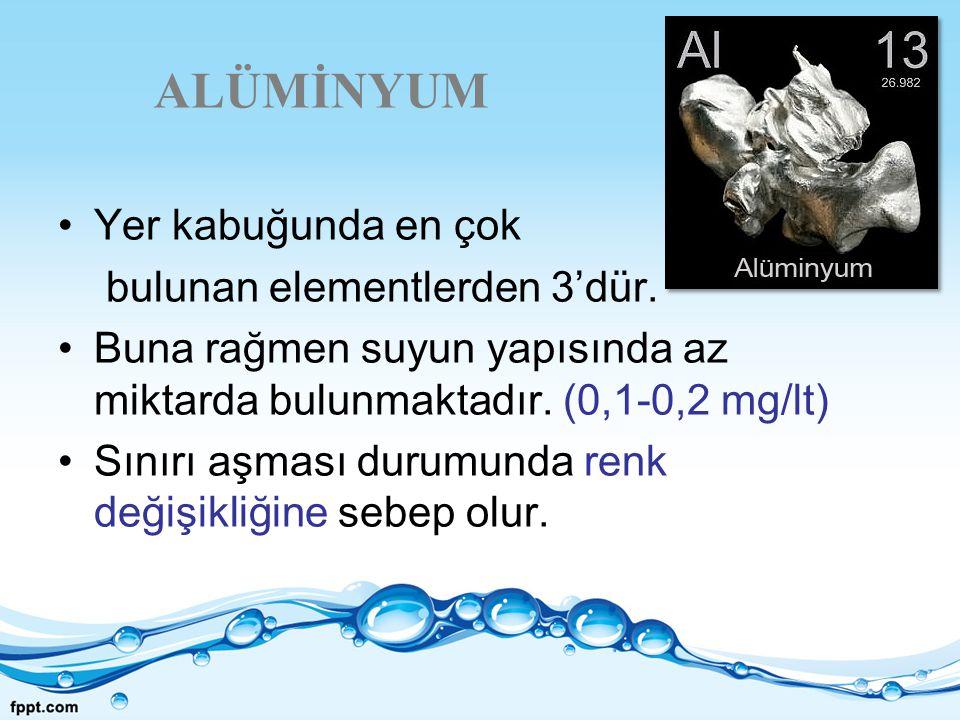 ALÜMİNYUM Yer kabuğunda en çok bulunan elementlerden 3'dür. Buna rağmen suyun yapısında az miktarda bulunmaktadır. (0,1-0,2 mg/lt) Sınırı aşması durum