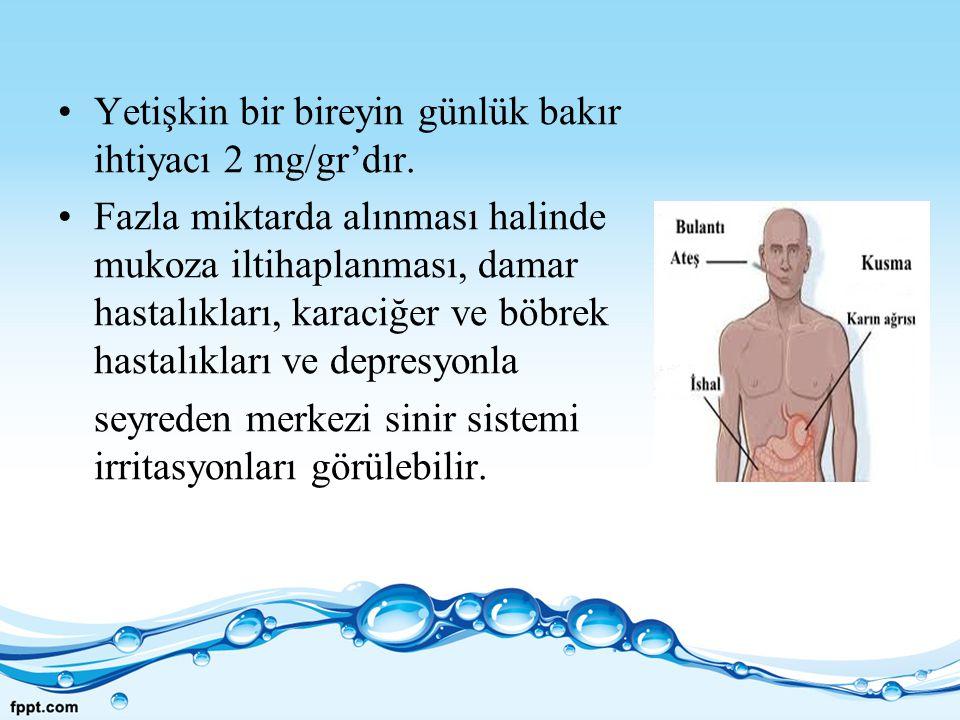Yetişkin bir bireyin günlük bakır ihtiyacı 2 mg/gr'dır. Fazla miktarda alınması halinde mukoza iltihaplanması, damar hastalıkları, karaciğer ve böbrek