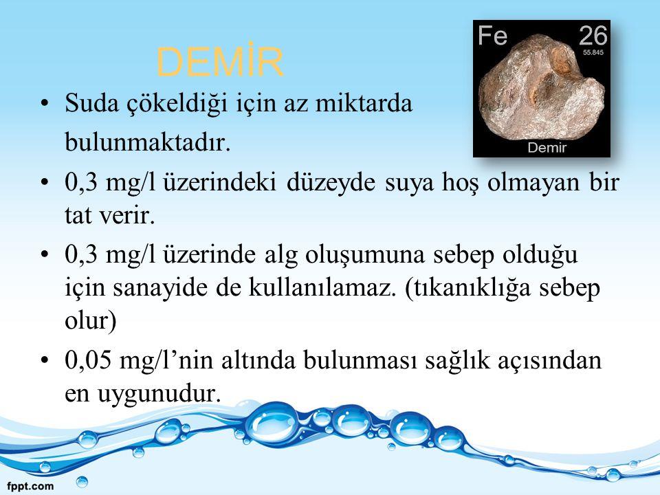DEMİR Suda çökeldiği için az miktarda bulunmaktadır. 0,3 mg/l üzerindeki düzeyde suya hoş olmayan bir tat verir. 0,3 mg/l üzerinde alg oluşumuna sebep