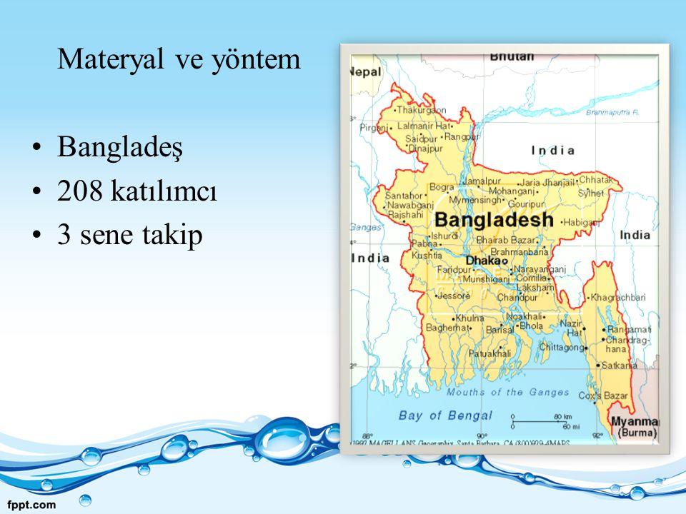 Materyal ve yöntem Bangladeş 208 katılımcı 3 sene takip
