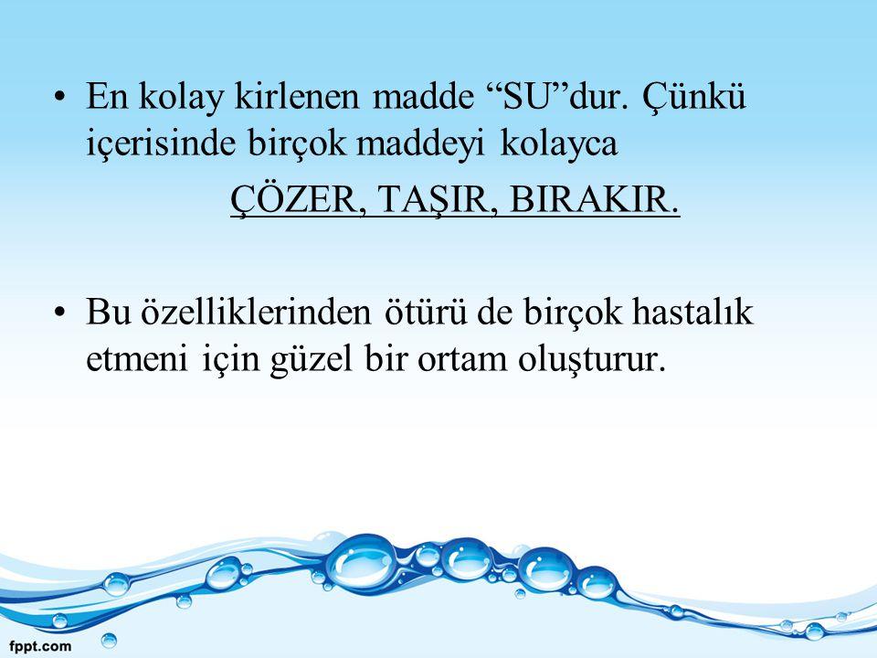 KAYNAKÇA Ç.Güler, Z. Çobanoğlu; su kirliliği, Sağlık Bakanlığı Çevre Sağlığı Dizisi no:12 Ç.