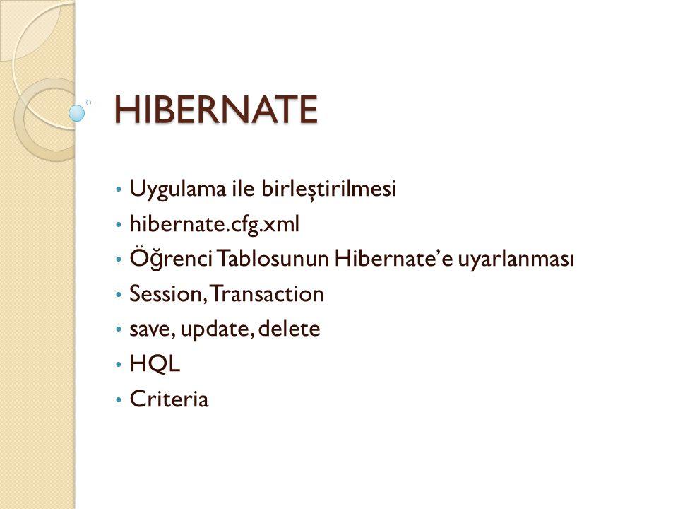 HIBERNATE Uygulama ile birleştirilmesi hibernate.cfg.xml Ö ğ renci Tablosunun Hibernate'e uyarlanması Session, Transaction save, update, delete HQL Cr