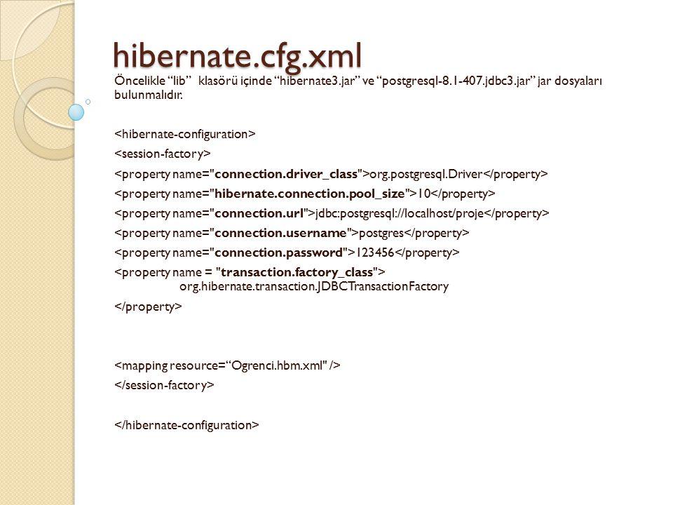 hibernate.cfg.xml Öncelikle lib klasörü içinde hibernate3.jar ve postgresql-8.1-407.jdbc3.jar jar dosyaları bulunmalıdır.
