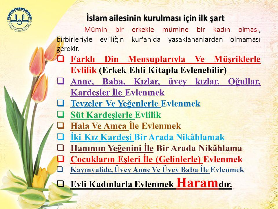 İslam ailesinin kurulması için ilk şart İslam ailesinin kurulması için ilk şart Mümin bir erkekle mümine bir kadın olması, birbirleriyle evliliğin kur