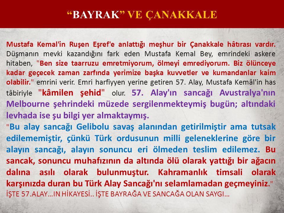 Mustafa Kemal in Ruşen Eşref e anlattığı meşhur bir Çanakkale hâtırası vardır.