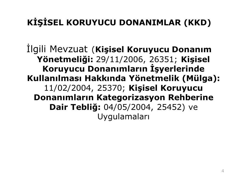 KİŞİSEL KORUYUCU DONANIMLAR (KKD) İlgili Mevzuat (Kişisel Koruyucu Donanım Yönetmeliği: 29/11/2006, 26351; Kişisel Koruyucu Donanımların İşyerlerinde
