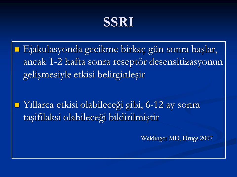 SSRI Ejakulasyonda gecikme birkaç gün sonra başlar, ancak 1-2 hafta sonra reseptör desensitizasyonun gelişmesiyle etkisi belirginleşir Ejakulasyonda gecikme birkaç gün sonra başlar, ancak 1-2 hafta sonra reseptör desensitizasyonun gelişmesiyle etkisi belirginleşir Yıllarca etkisi olabileceği gibi, 6-12 ay sonra taşifilaksi olabileceği bildirilmiştir Yıllarca etkisi olabileceği gibi, 6-12 ay sonra taşifilaksi olabileceği bildirilmiştir Waldinger MD, Drugs 2007 Waldinger MD, Drugs 2007