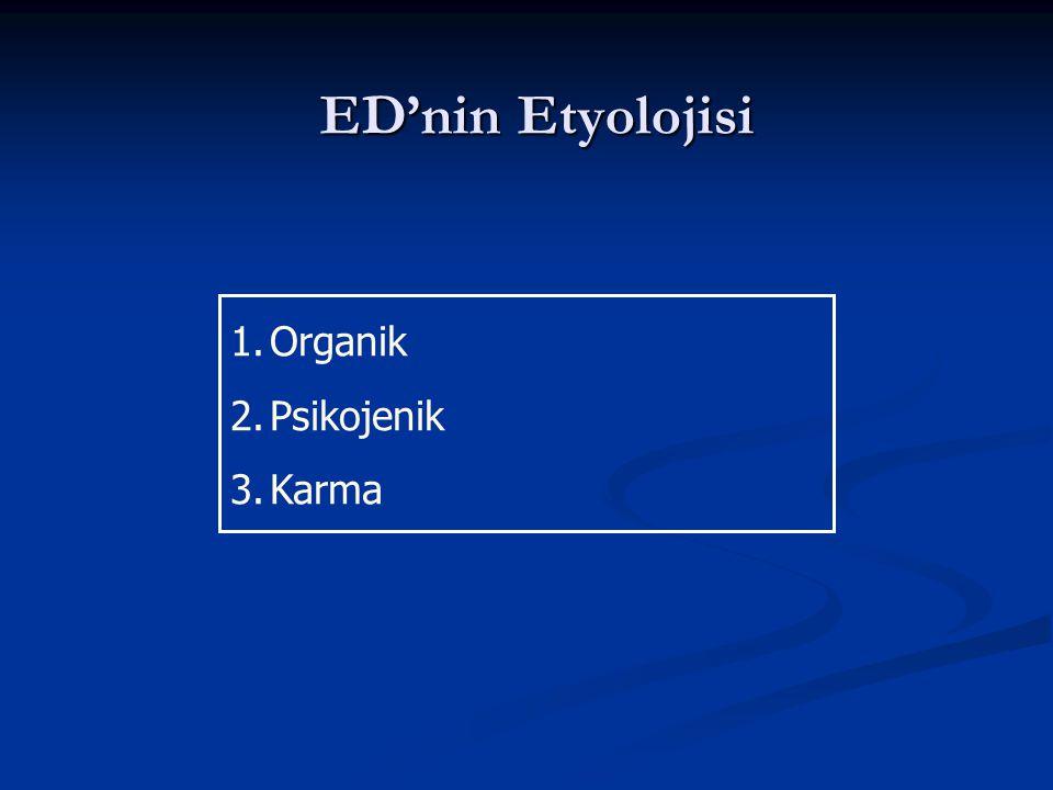 ED'nin Etyolojisi 1.Organik 2.Psikojenik 3.Karma