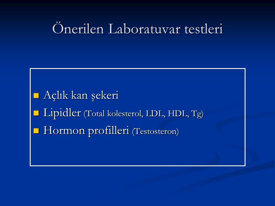 Önerilen Laboratuvar testleri Açlık kan şekeri Açlık kan şekeri Lipidler (Total kolesterol, LDL, HDL, Tg) Lipidler (Total kolesterol, LDL, HDL, Tg) Hormon profilleri (Testosteron) Hormon profilleri (Testosteron)